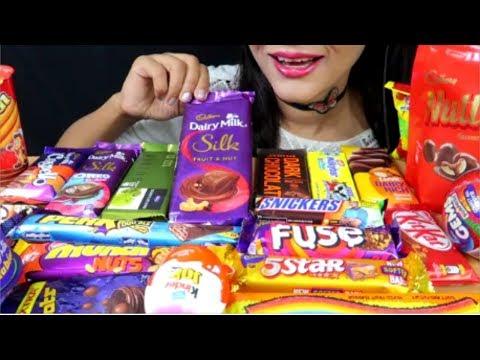 ASMR:Chocolate Eating Dairy millk crispello,Munch nuts,Kitkat,Lots of candies