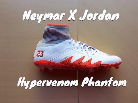 0230560cb703 Neymar X Jordan Hypervenom Phantom White Red on feet+review - YouTube