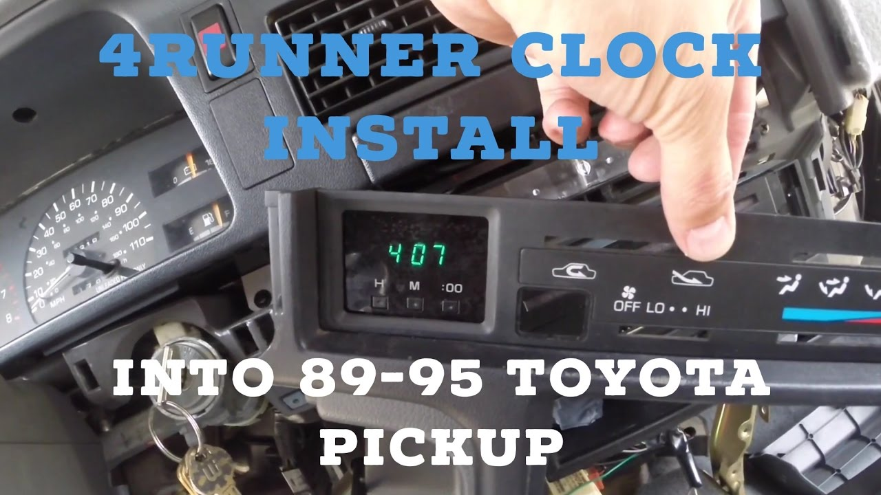 how to install 4runner clock into 89 95 toyota pickup lower dash disassembly  [ 1280 x 720 Pixel ]
