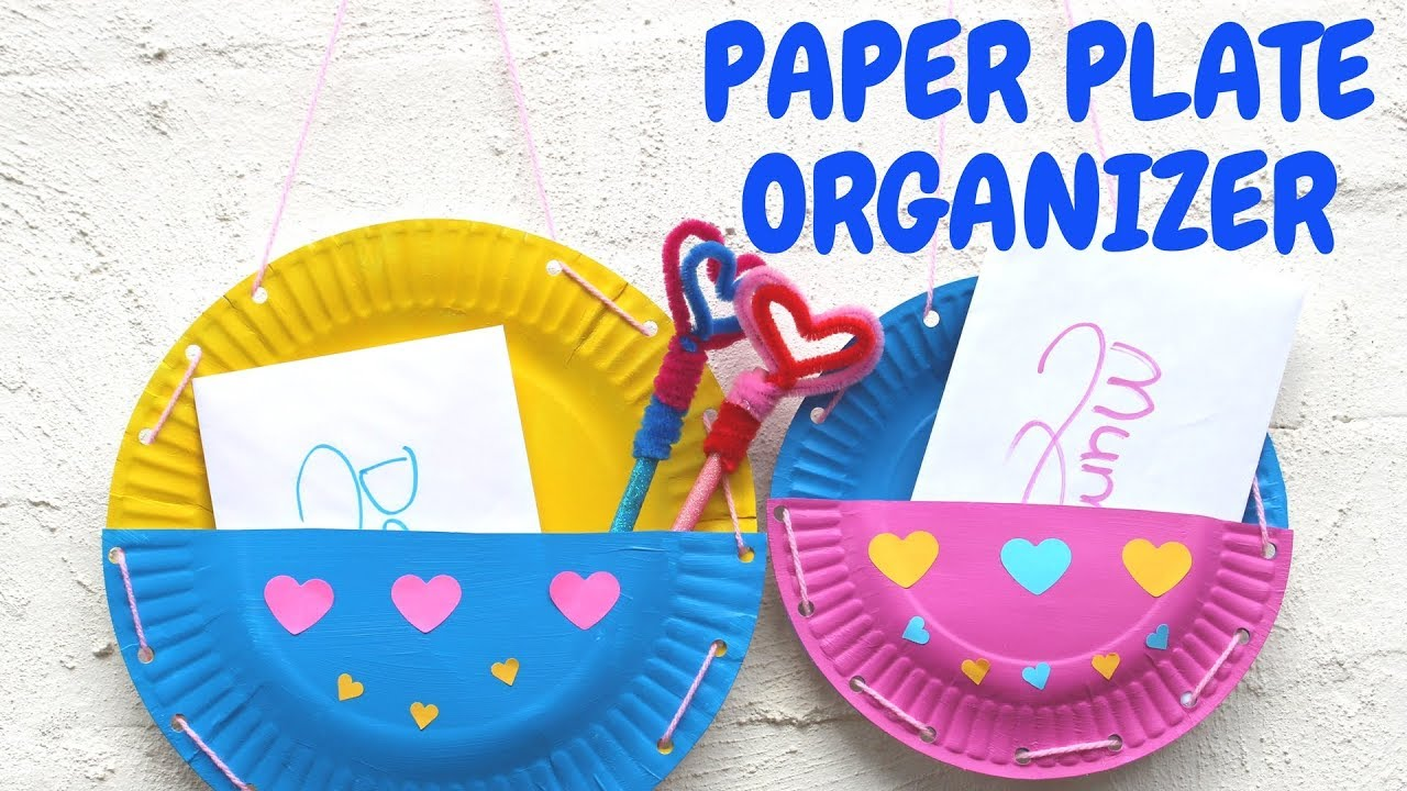 Paper Plate Organizer | Mothers Day Crafts for Kids - YouTube