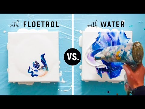Floetrol vs. Water 😀 Different Results? Mixing Fluid Paint | Acrylic Pour Experiment