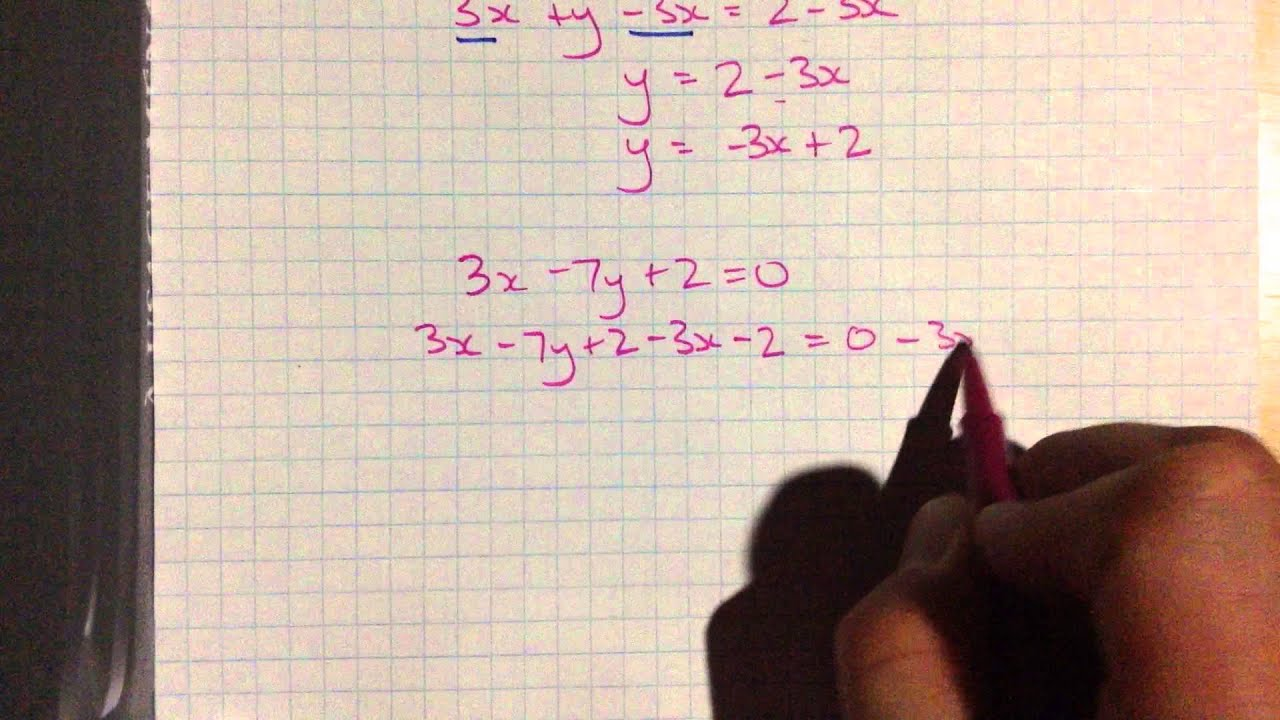 Rearranging Linear Equations To Get The Slopeyintercept (y=mx+b) Form   Youtube