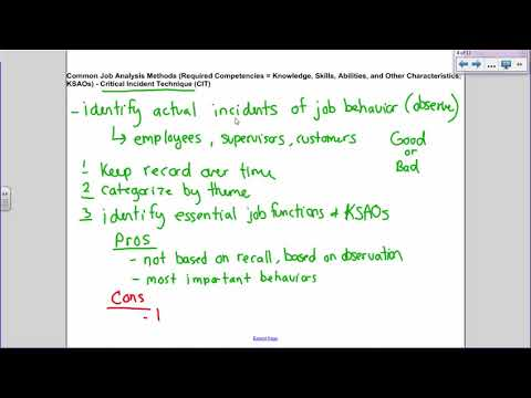 Job Analysis (Critical Incidents, O*NET) and Internal & External Employee Recruitment