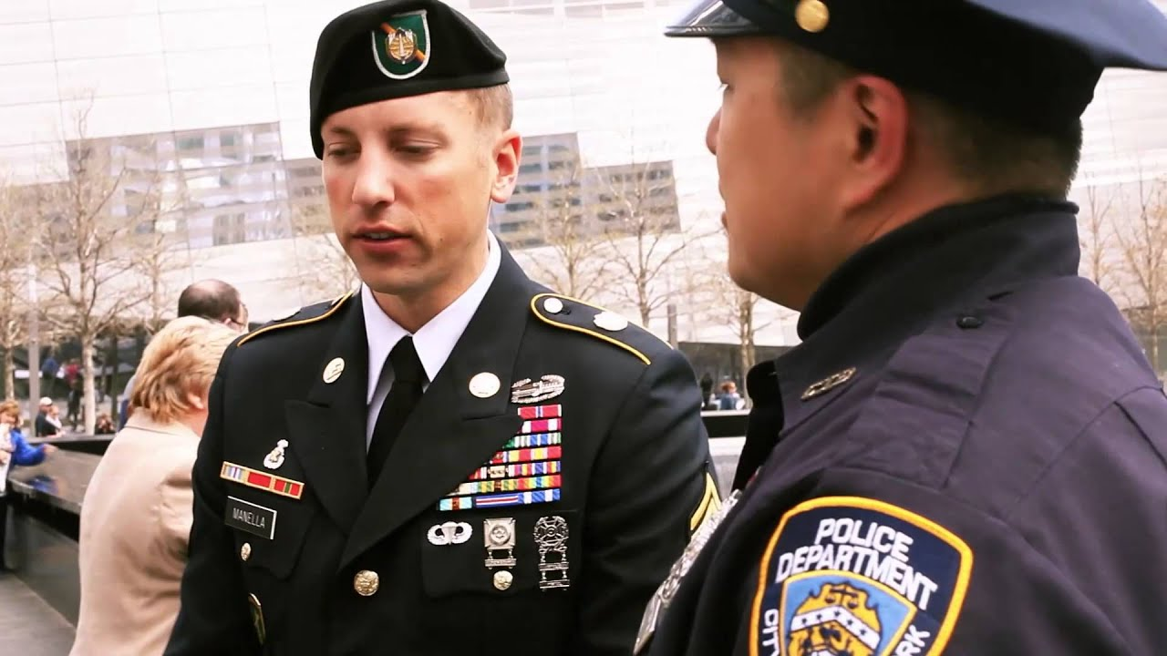 In a tribute to September 11th, 2001, Army Reserve Sergeant First Class Jason Manella, visits the 9/11 Memorial to reflect on the event that inspired him to join the military. Manella, the 2013 Department of the Army NCO of the Year, is a civil affairs specialist assigned to Bravo Company, 445th Civil Affairs Battalion in Mountain View, CA.