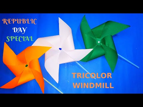 DIY TRICOLOR WINDMILL|| SPINNING PAPER WINDMILL || TriColor WindMill Craft for Republic Day