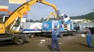 Angry Man in Crane Destroys Ice Cream Truck. Epic!!