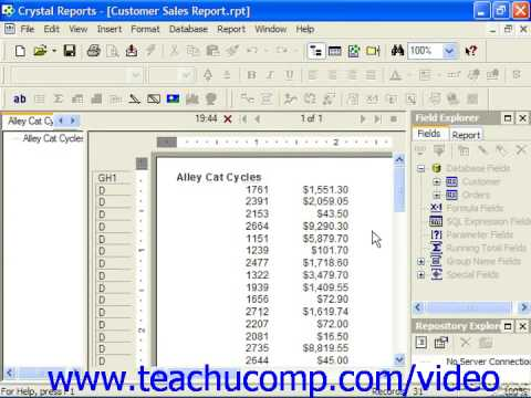 Crystal Reports Tutorial Summarizing Report Data Business Objects ...