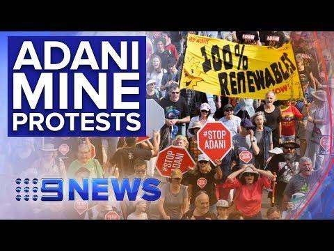 Adani Mine Demonstrators In Peak Hour Protests   Nine News Australia