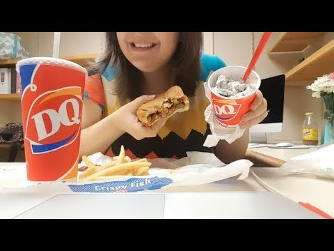 ASMR Dairy Queen | Burger, Fries & Blizzard | Fast Food | Relaxing Eating Sounds