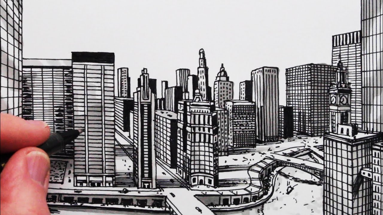 How to Draw a City in One-Point Perspective: Chicago - YouTube