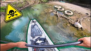 Kayak Fishing SECRET CITY Creek in Downtown Dallas (VERY GROSS)