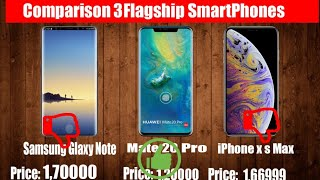 Hauwei Mate 20 vs Samsung note 9 comparison and iPhone xs Max