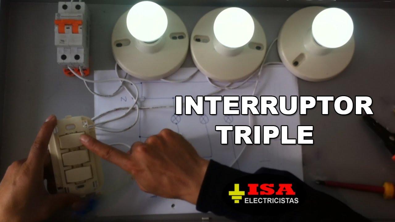 Circuito Electrico Simple Con Interruptor : Cómo instalar un interruptor triple youtube