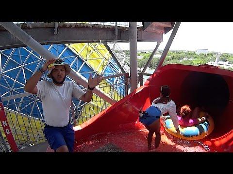 Huge Red Water Slide at Rapids Water Park