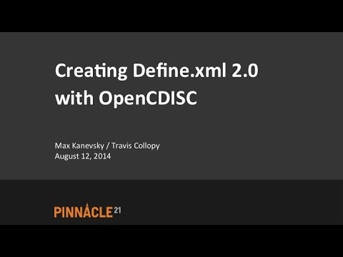 Creating Define.xml 2.0 with OpenCDISC