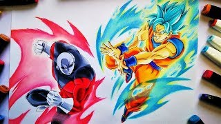 Como dibujar a GOKU Ssj Blue vs JIREN dragon ball super. How to Draw GOKU Ssj blue vs JIREN the Grey