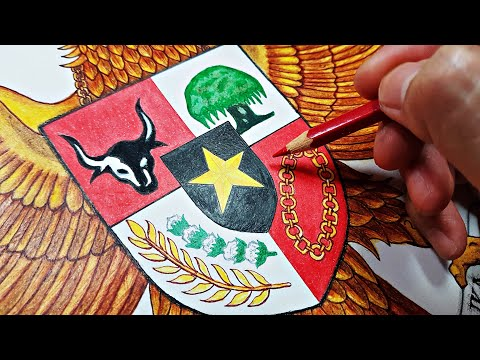 Menggambar Burung Garuda Pancasila - Lambang Negara Kesatuan Republik Indonesia 🇮🇩