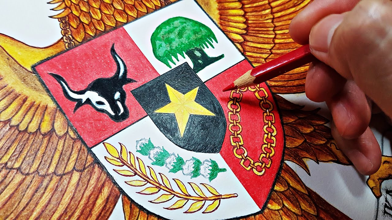 Menggambar Burung Garuda Pancasila Lambang Negara Kesatuan Republik Indonesia 🇩