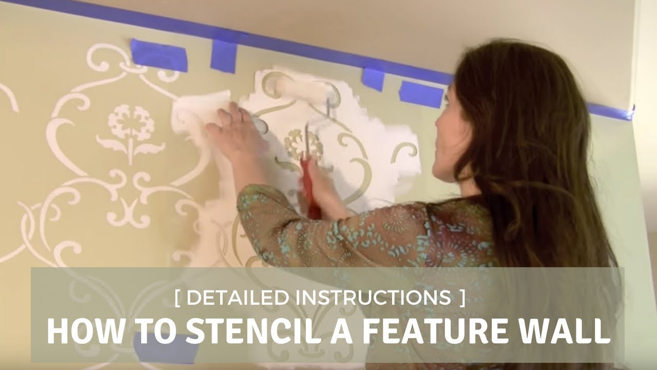 How to stencil a feature wall with cutting edge stencils youtube amipublicfo Gallery