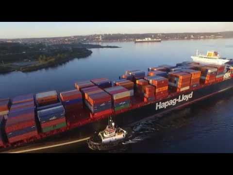 DJI Phantom 3 Aerial Video - BERLIN EXPRESS Outbound Port of Halifax (Oct 12, 2016)