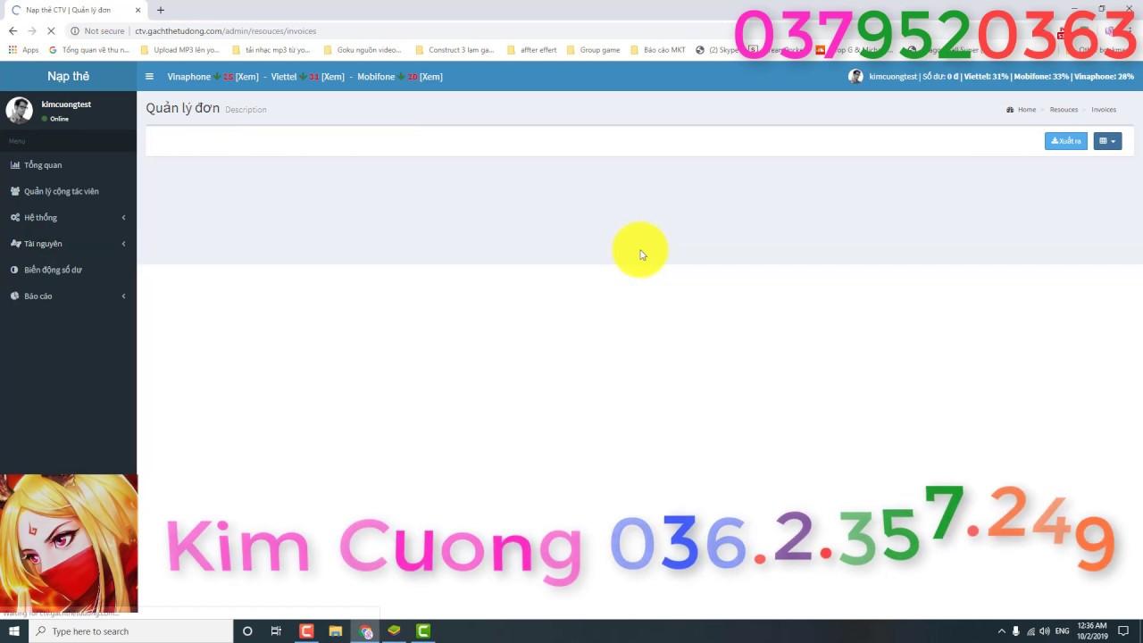 Tuyển CTV nạp thẻ chiết khấu Viettel 31% Vina 28% Mobi 33%  – Kim Cuong