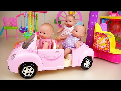 Baby doll pink car and play park toys play