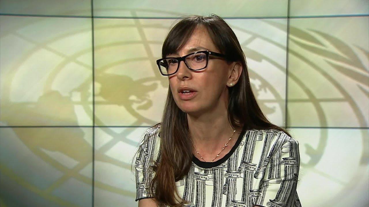 Estela Argudin Pombo habla sobre el crimen organizado y serio a los medios de la ONU