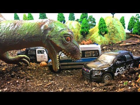 Мультики про машинки | Полиция спасает машинки от динозавра