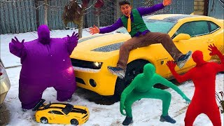 Funny Colored Man in Car Service on Chevrolet Camaro w/ Red Man VS Green Man & Purple Fat Man