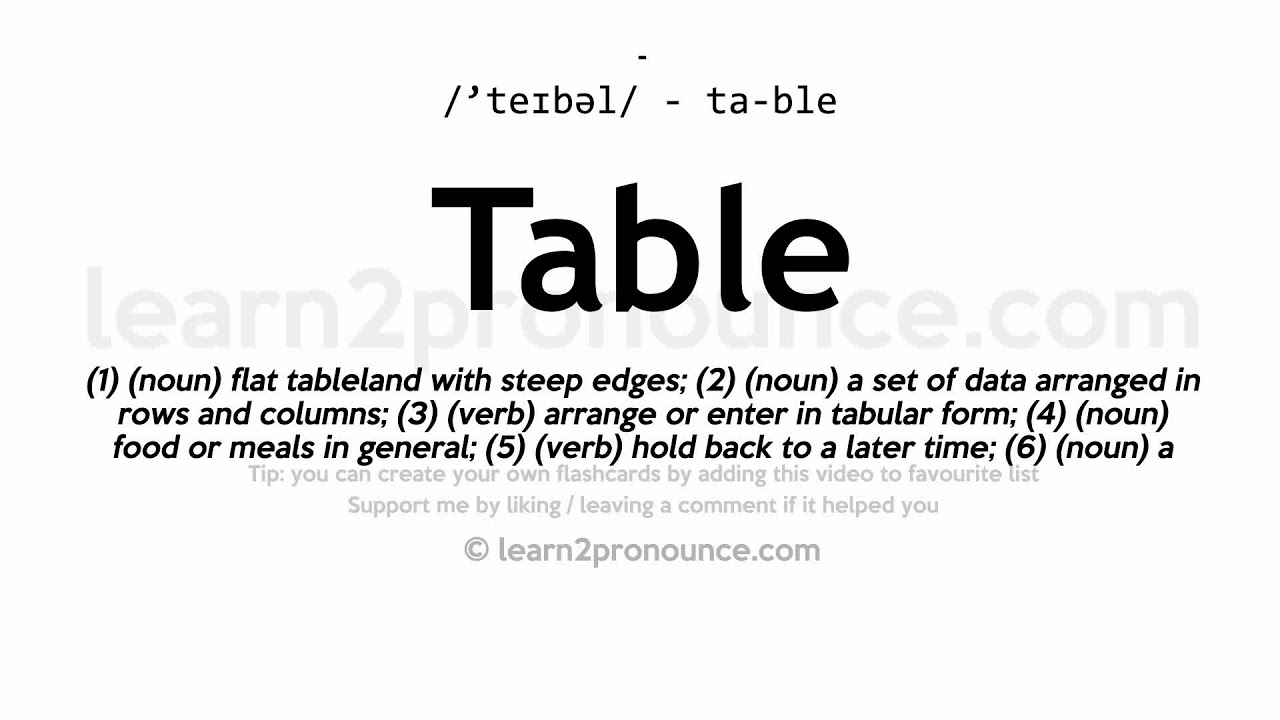 Table Pronunciation And Definition Youtube