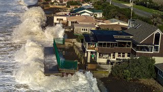 New Zealand High Tide Crashes Into Houses