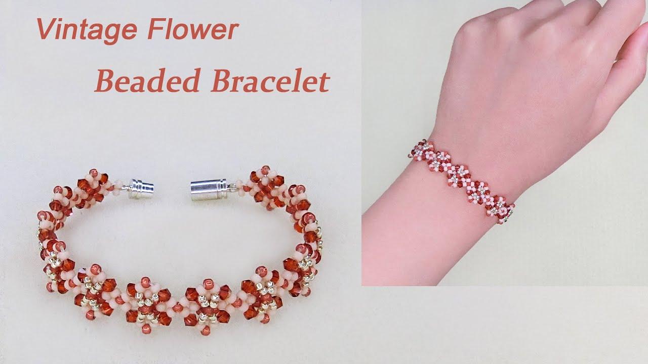 Vintage Flower Beaded Bracelet, How to Make Beaded Bracelet with Crystal Bicones & Seed Beads花形串珠手链