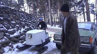 Самодельный снегоход 02 ,первые покатушки .