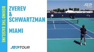 Zverev Practises With Schwartzman Miami 2019
