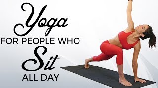 Yoga for People Who SIT All Day with Jess ♥  Beginners Routine for Back Pain | Standing Desk Review