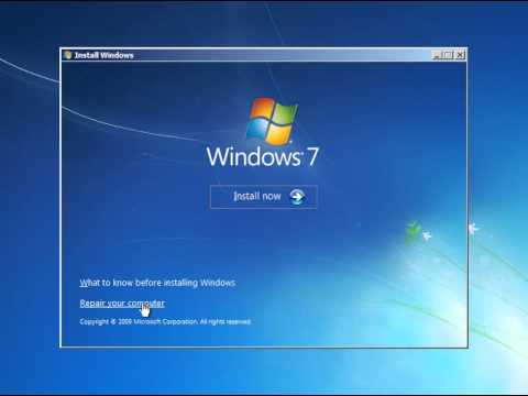 How To Restore Master Boot Records (MBR) Using Windows 7 Installer DVD