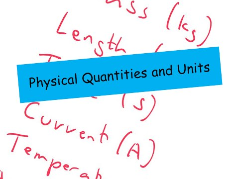 Physical Quantities and Units - A level Physics