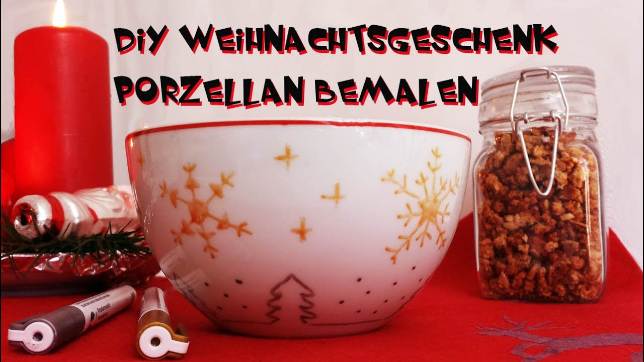 diy weihnachtsgeschenk selber machen m slischale aus porzellan bemalen youtube. Black Bedroom Furniture Sets. Home Design Ideas