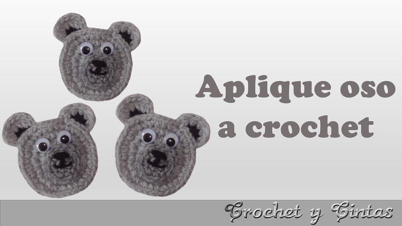 Aplique carita de oso tejido a crochet - YouTube