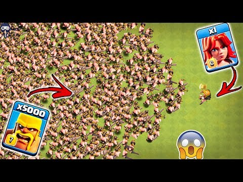 1 Max Valkyrie vs 5000 Max Barbarian Clash of Clans | 1 Valk vs Barbarian