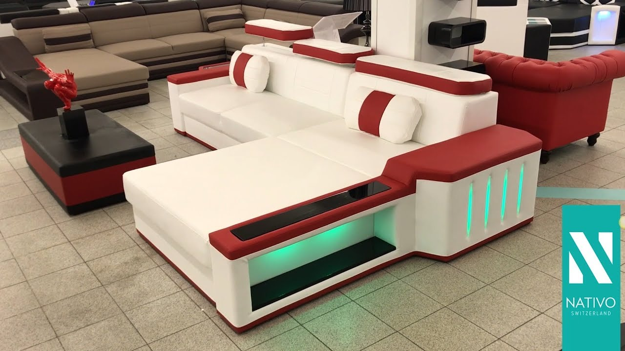 Nativo mobilier france canap design cesaro mini avec clairage led youtube for Mobilier design france