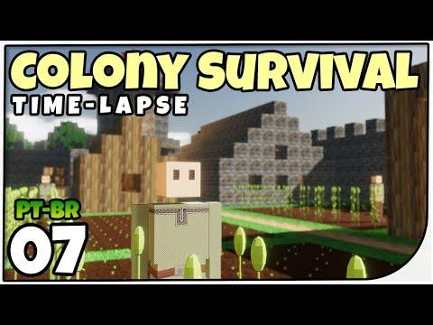 Colony Survival #07 - Time-Lapse Igreja e Casa dos Artesãos - Gameplay em Português [PT-BR]