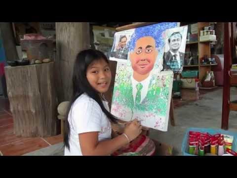 เด็กชายกุลาวาดภาพนายกรัฐมนตรี เป็นของขวัญวันเด็ก 1/2...Painting for prime minister Prayuth