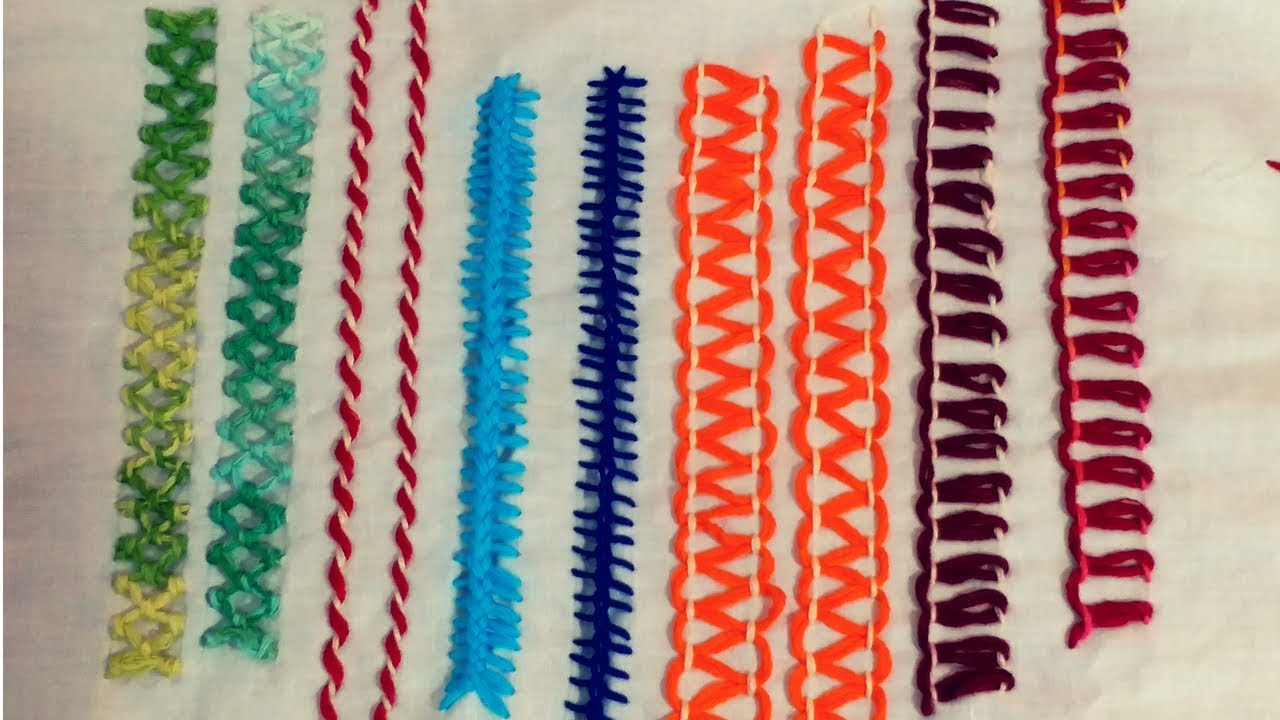 Hand embroidery designs for border basic stitches by