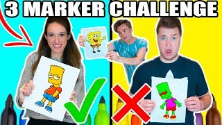 3 MARKER CHALLENGE WITH MY GIRLFRIEND!! Spongebob, The Simpsons & More!