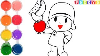 How to Draw & Color a Happy Pocoyo Cartoon | Drawing Episodes Learning Tutorial | Kids Learn Colors