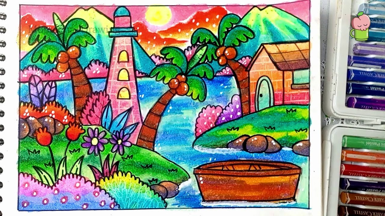 Scenery Of Sea How To Draw And Coloring With Oil Pastel For Kids Easy Step By Step