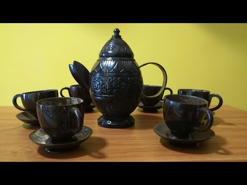 How to Make Coconut Shell Products (Tea Set)