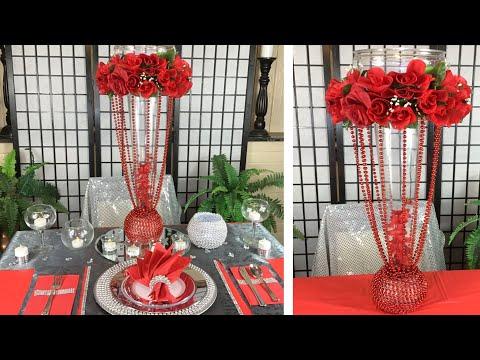 diy-glam-red-and-gray-wedding-centerpiece-/-parties-/-anniversary-/-wedding-reception-ideas