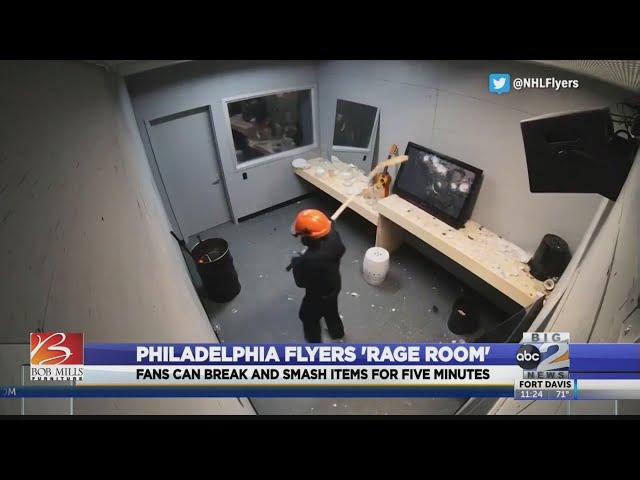 Flyers fans get rage room to break stuff for fun